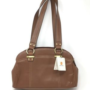Wilson's Leather Brown bag with gold hardware.